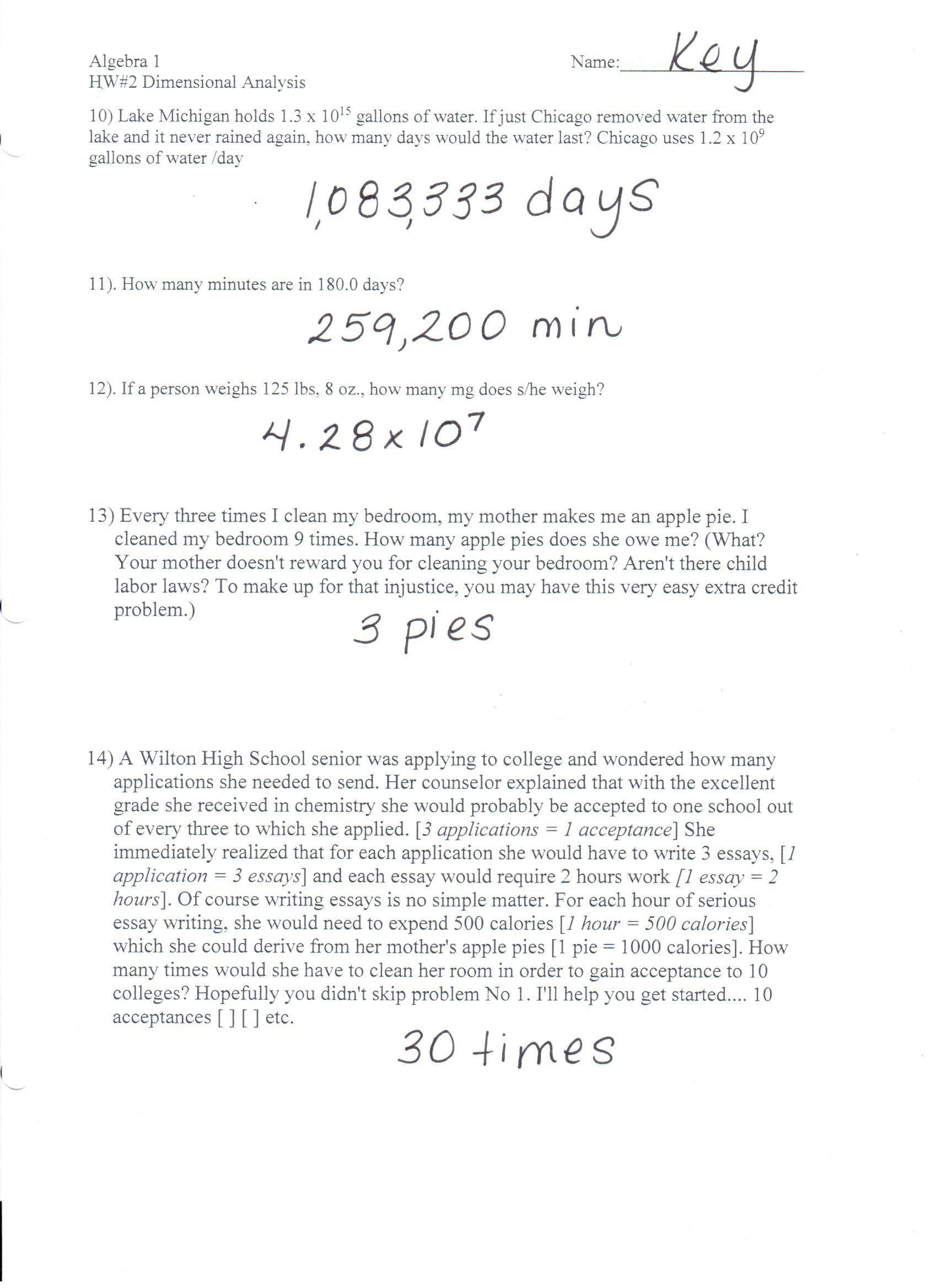Category Homework – Dimensional Analysis Problems Worksheet
