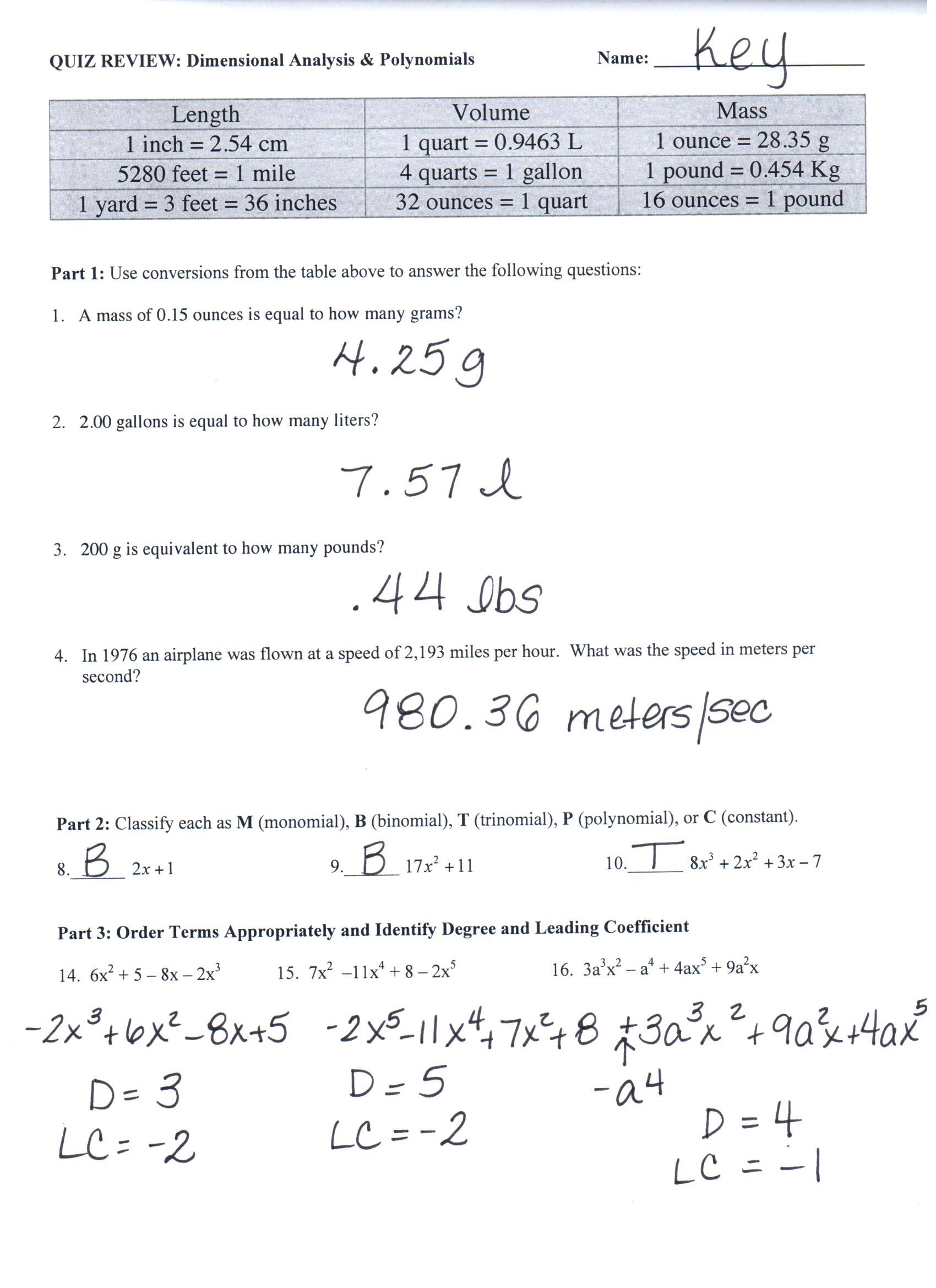 Pre ap chemistry dimensional analysis worksheet 2